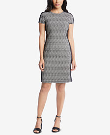 Karen Kane Faux-Leather-Trim Sheath Dress