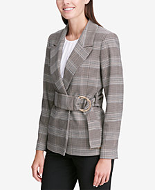 Calvin Klein Belted Plaid Jacket