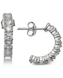 "Giani Bernini Small Cubic Zirconia Half Hoop Earrings in Sterling Silver, 0.6"", Created for Macy's"