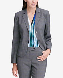 Calvin Klein Petite Glen Plaid Two-Button Jacket