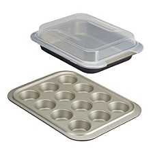 Allure Nonstick 3-Pc. Bakeware Set with Shared Lid
