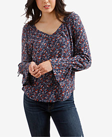 Lucky Brand Floral-Print V-Neck Peasant Top