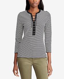 Lauren Ralph Lauren Lace-Up Striped Top