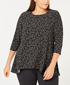 Anne Klein Plus Size Printed 3/4-Sleeve Top