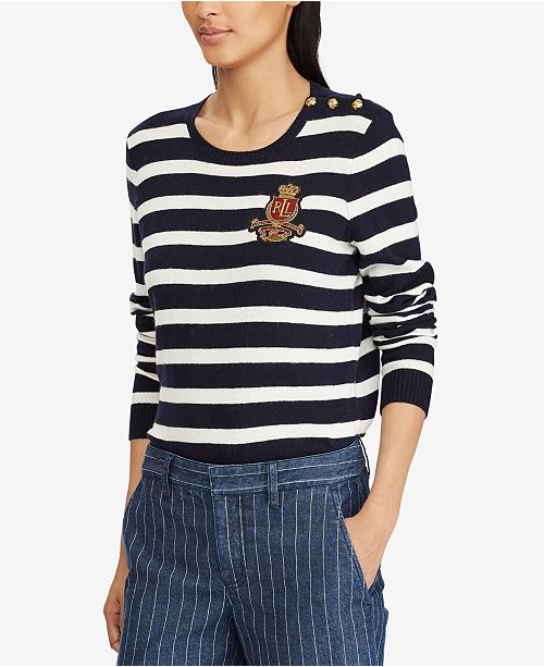 68877bd96fbee Lauren Ralph Lauren Bullion-Patch Striped Sweater   Reviews ...