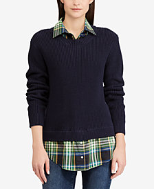 Lauren Ralph Lauren Layered-Look Plaid-Contrast Sweater