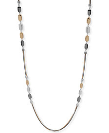 "Nine West Tri-Tone Triple Strand Decorative 42"" Statement Necklace"