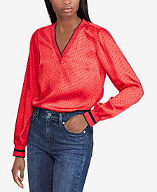 Lauren Ralph Lauren Striped-Trim Printed Top