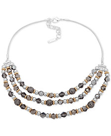 "Nine West Tri-Tone Bead Layered Statement Necklace, 16"" + 2"" extender"