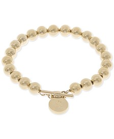 Gold-Tone Logo Beaded Bracelet