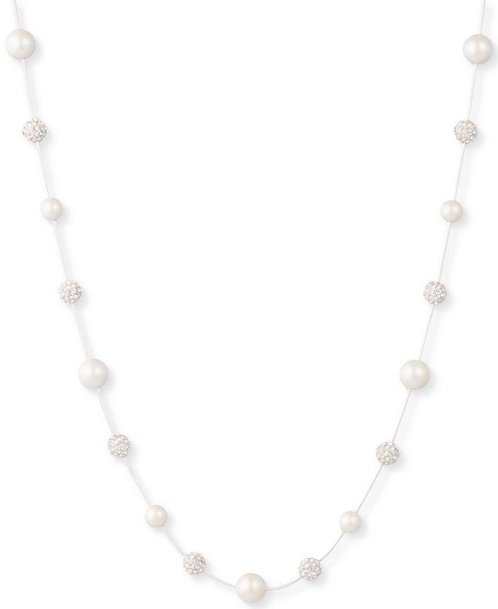 """Lauren Ralph Lauren - Silver-Tone Pavé Fireball & Imitation Pearl Strand Necklace, 17"""" + 3"""" extender"""
