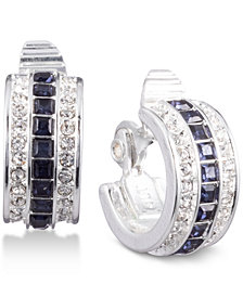 Lauren Ralph Lauren Silver-Tone Crystal & Stone Clip-On Huggie Hoop Earrings
