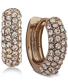 Lauren Ralph Lauren Gold-Tone Pavé Huggie Hoop Earrings