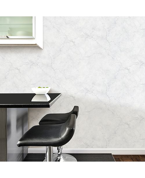 Brewster Home Fashions Carrara Marble Peel and Stick Wallpaper