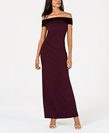 Vince Camuto Off-The-Shoulder Velvet & Crepe Gown