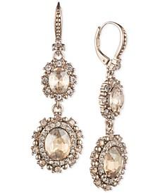 Gold-Tone Crystal Double Drop Earrings