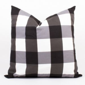 """Image of Black And White Gingham Pillow 20"""""""