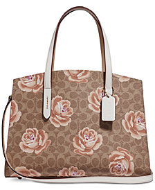 Coach Coated Canvas Signature Rose Print Charlie Carryall