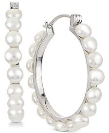 Cultured Button Freshwater Pearl (4mm) Hoop Earrings in Sterling Silver