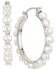 Cultured Button Freshwater Pearl (4mm) Hoop Earrings in Sterling Silver