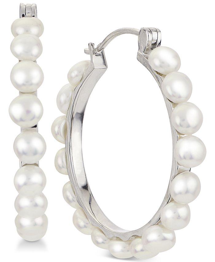 Macy's - Cultured Button Freshwater Pearl (4-5mm) Hoop Earrings in Sterling Silver
