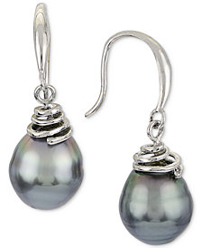 Cultured Tahitian Pearl (8mm) Drop Earrings in Sterling Silver