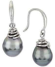 Cultured Tahitian Pearl (8mm) Drop Earrings in Sterling Silver