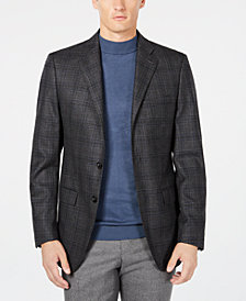 Calvin Klein Men's X Fit Slim-Fit Charcoal/Navy Plaid Wool Sport Coat