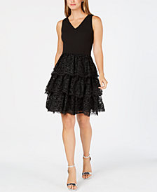 julia jordan Tiered Lace Fit & Flare Dress