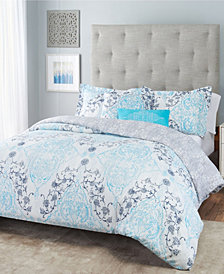 Nicole Miller Emma Damask Reversible Bedding 5-Piece King Set