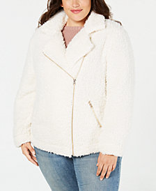 Say What? Trendy Plus Size Fleece Moto Jacket