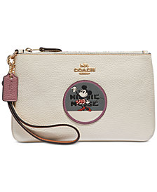 COACH Boxed Minnie Mouse Patch Wristlet in Pebble Leather