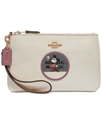 coach boxed minnie mouse patch wristlet in pebble leather handbags rh macys com