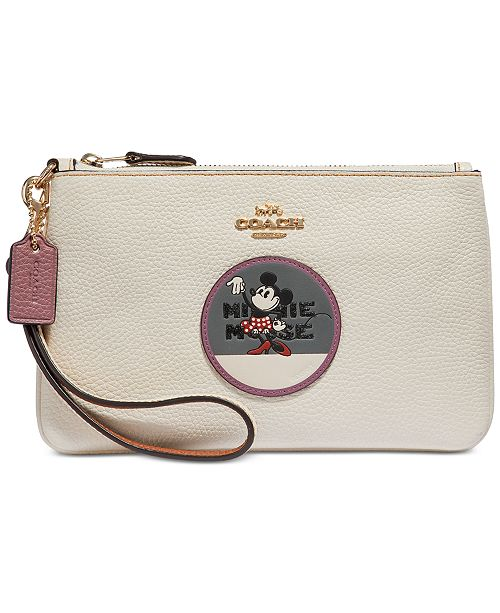 9b849f617e COACH Boxed Minnie Mouse Patch Wristlet in Pebble Leather   Reviews ...