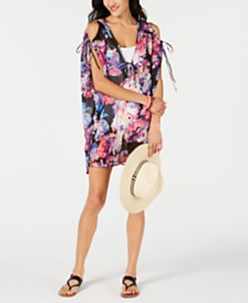 Bar III Tech Floral Printed Cold-Shoulder Tunic Cover-Up, Created for Macy's