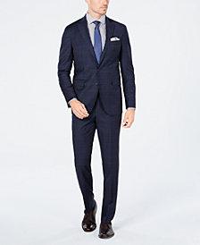 Cole Haan Men's Grand OS Slim-Fit Wearable Technology Plaid Suit Separates