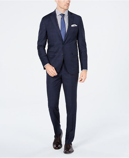 Cole Haan Men's Grand OS Slim-Fit Wearable Technology Plaid Suit Separates