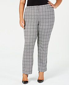 Kasper Plus Size Menswear Plaid Pants