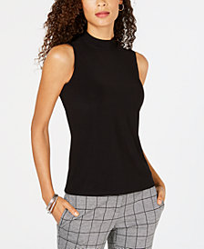Kasper Mock-Neck Sleeveless Top