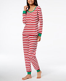 Matching Family Pajamas Women's Holiday Stripe Pajama Set, Created for Macy's