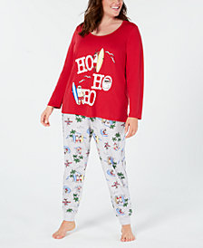 Matching Family Pajamas Plus Size Women's Surfing Santa Pajama Set, Created for Macy's