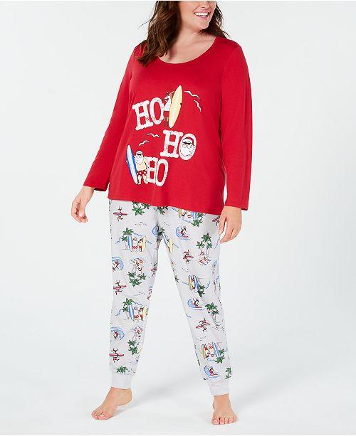 c4883894bf Family Pajamas Matching Plus Size Women s Surfing Santa Pajama Set ...