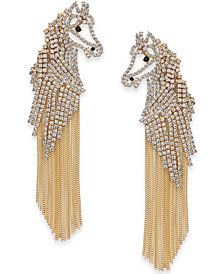 kate spade new york Gold-Tone Pavé Horse Fringe Drop Earrings