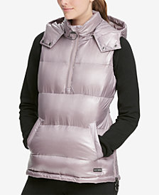 DKNY Sport Quarter-Zip Hooded Vest