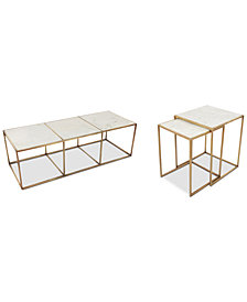 Isla Marble Occasional Furniture, 2-Pc. Set (Coffee Table and End Table)