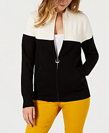 Charter Club Colorblocked Zip-Up Sweater, Created for Macy's