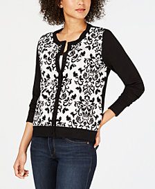 Charter Club Floral Print Cardigan Sweater, Created for Macy's