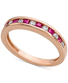 Emerald (1/3 ct. t.w.) & Diamond (1/5 ct. t.w.) Band in 14k Rose Gold (Also Available in Certified Ruby and Sapphire)