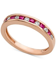 Cartified Ruby (1/3 ct. t.w.) & Diamond (1/5 ct. t.w.) Band in 14k Rose Gold (Also Available in Emerald and Sapphire)