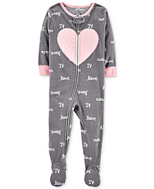 Carter's Baby Girls Heart Footed Fleece Pajamas